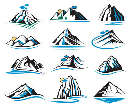 Conjunto de doce iconos de montaña Foto de archivo - 49587150