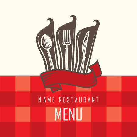 knife fork: restaurant menu design with knife, spoon and fork