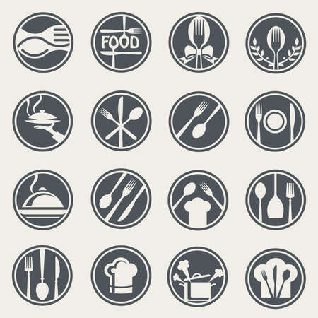 cooking chef: monochrome food and restaurant icon set Illustration