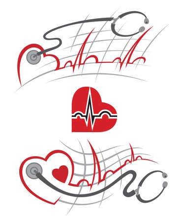 medical abstract: set of illustration with electrocardiogram and stethoscope