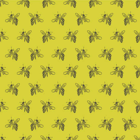seamless pattern with honey bees on a yellow background Illustration