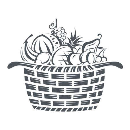canastas con frutas: ilustración en blanco y negro de la cesta con varias frutas