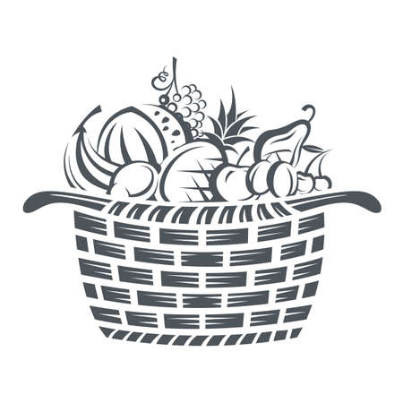 monochrome illustration of basket with various fruits