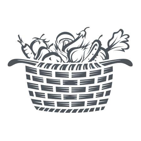 monochrome illustration of basket with various vegetables Illustration