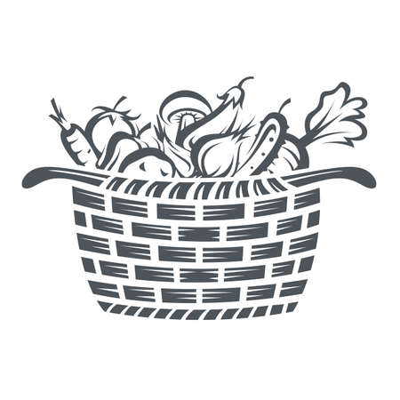 monochrome illustration of basket with various vegetables Illustration
