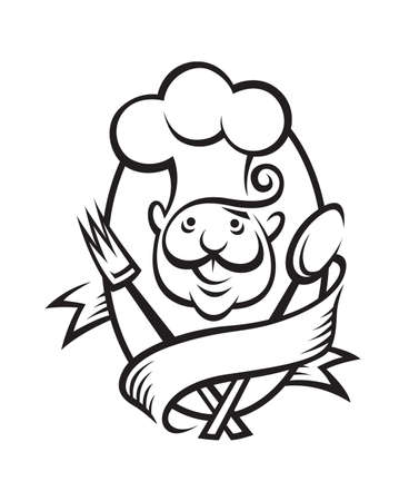 appetite: monochrome illustration of a chef with spoon, fork and ribbon