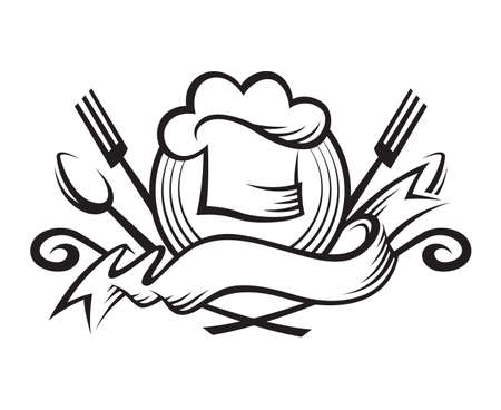 flavors: monochrome illustration of a chef hat with spoon, fork and ribbon
