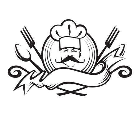 Schwarz-Weiß-Illustration eines Koch mit Löffel, Gabel und Band Vektorgrafik