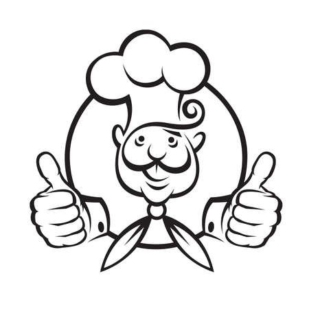 monochrome illustration of a chef