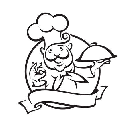 catering service: chef with tray of food in hand Illustration
