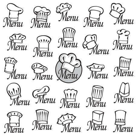 catering service: monochrome set of design with chef hats