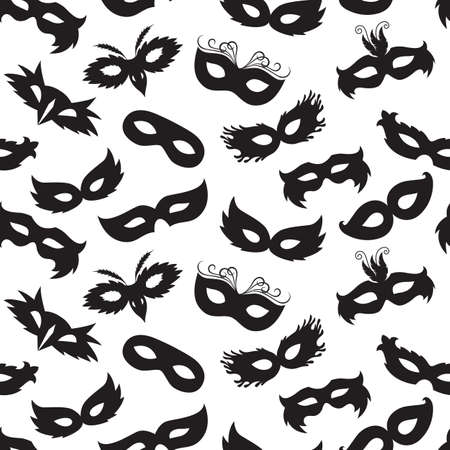 funny face: seamless pattern of carnival masks
