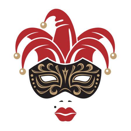 teatro mascara: mujer en máscara de carnaval con campanas Vectores