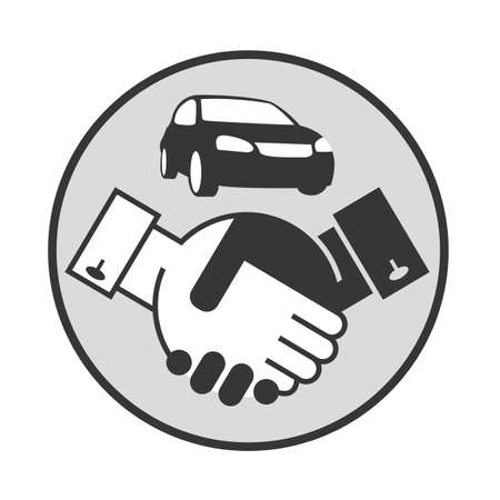 sell car: monochrome illustration of handshake and car on a stand Illustration