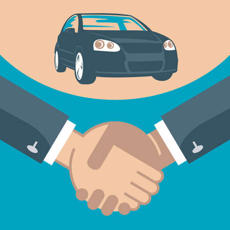 flat illustration of handshake and car on a stand