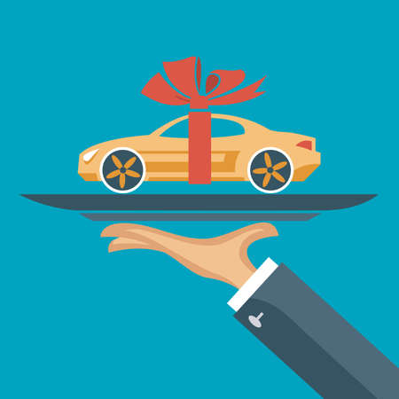 dealership: flat illustration of hand with a car on a tray