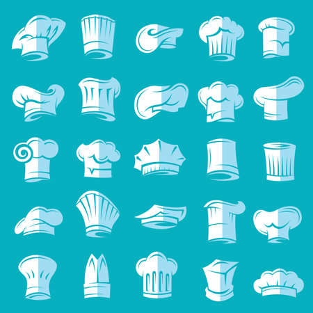 master chef: set of twenty five chef hats, flat design