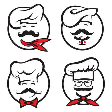 ensemble d'icônes avec des chefs whiskered