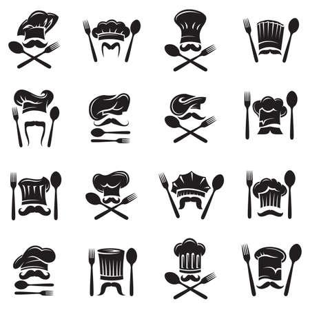 diseño negro conjunto de cuchara, tenedor y el chef con bigote