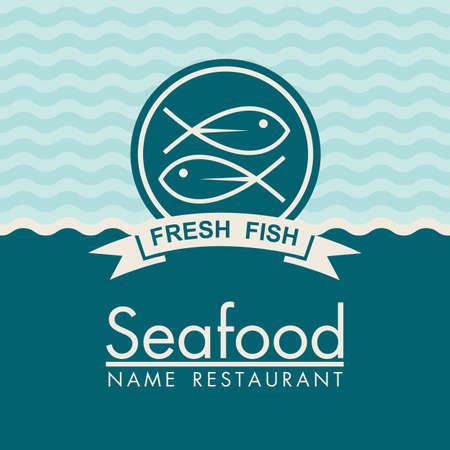conception du menu de fruits de mer sur un fond bleu