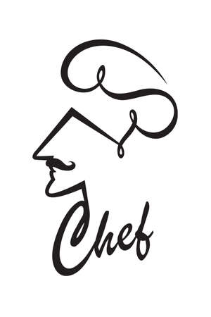 abstract black illustration of chef 向量圖像