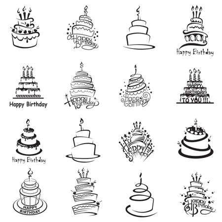 monochrome set of sixteen cakes Stock Illustratie