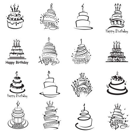 monochrome set of sixteen cakes Illustration