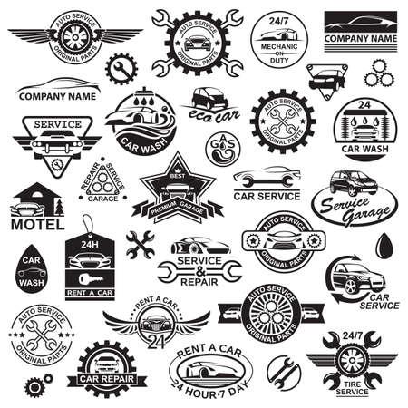 lavado: ilustración en blanco y negro de diversos iconos del coche