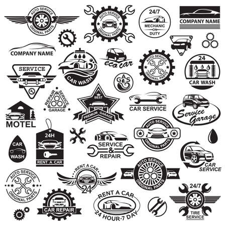 car model: monochrome illustration of various car icons