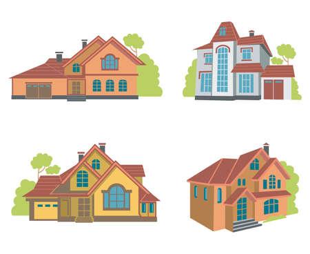 flat houses set