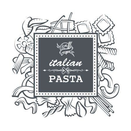 monochrome: monochrome restaurant banner with various pasta elements