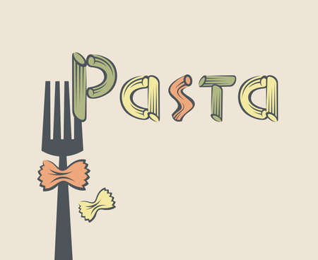 pasta fork: illustration of fork with pasta as text