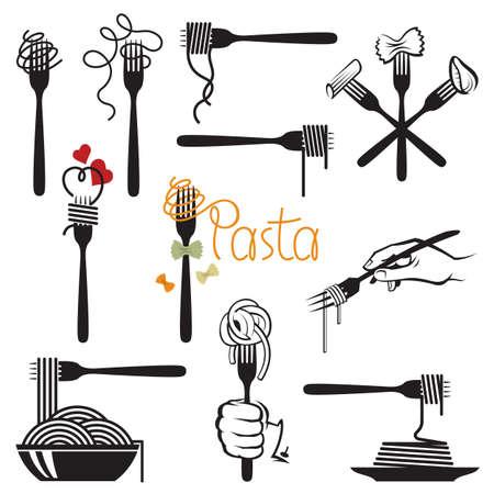 pasta: colección de tenedor y plato con diversas pastas