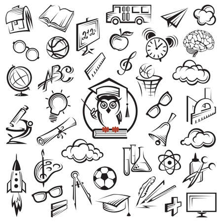 collection of monochrome education icons