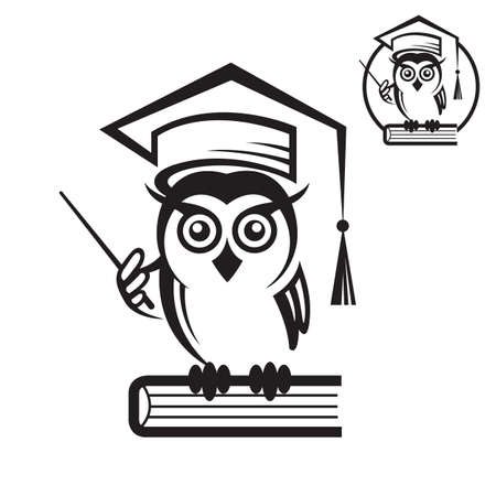 science icons: icon of school owl with book and graduation cap