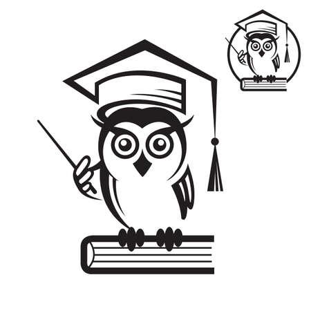graduacion caricatura: icono del búho de la escuela con el libro y el casquillo de la graduación