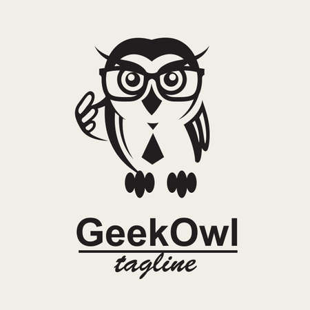 glasses eye: monochrome icon with geek owl in glasses