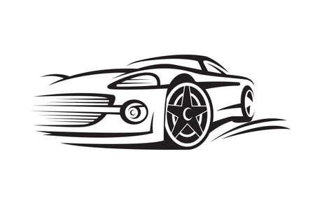 車の抽象的な白黒イラスト