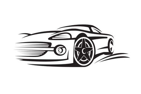 abstract monochrome illustration of a car
