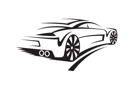 logo design: abstract monochrome illustration of a car