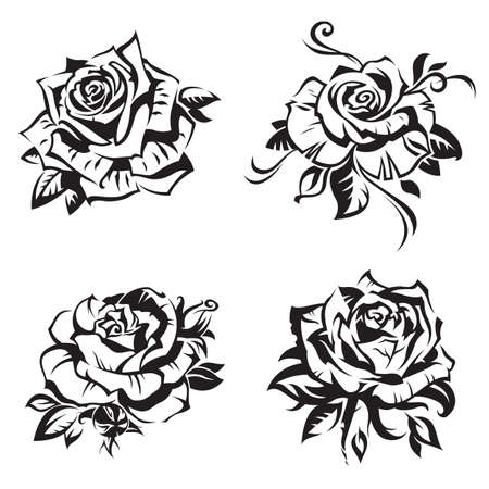 rose tattoo: black rose set on white background Illustration