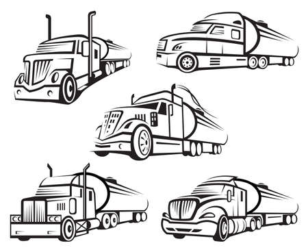 tank: monochrome set of four tank truck