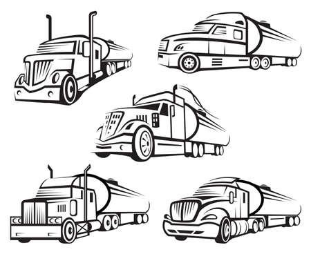 monochrome set van vier tankwagen Stock Illustratie