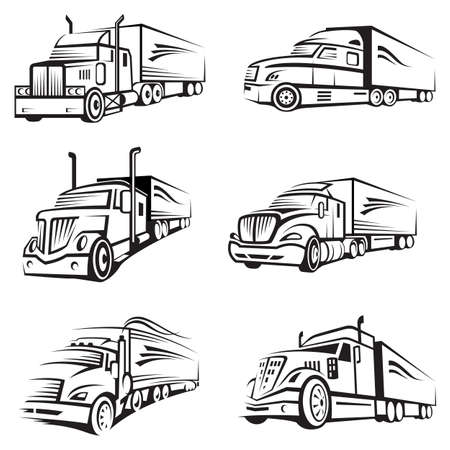 monochrome collection of a trucks with trailer