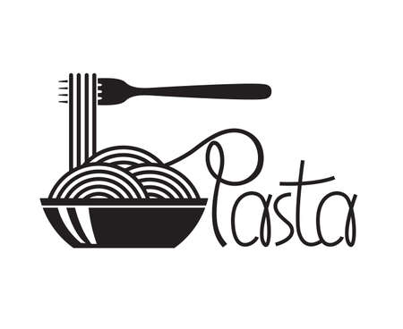 vermicelli: monochrome illustration of fork and dish with pasta