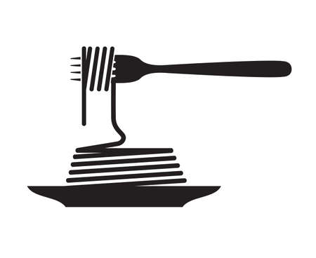 pasta dish: monochrome illustration of fork and dish with pasta