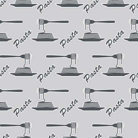 pasta dish: seamless background pattern of fork and dish with pasta