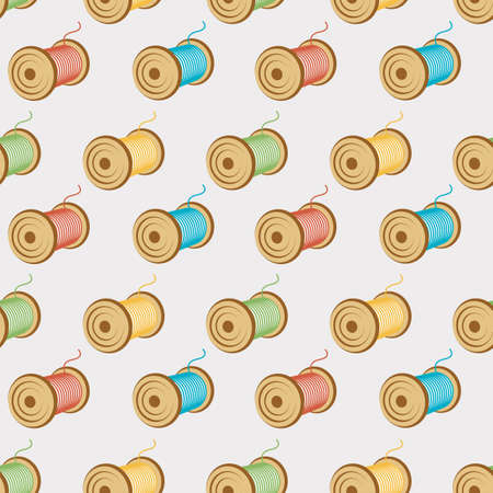 threads: spools of threads seamless pattern Illustration