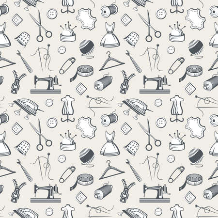 needle cushion: seamless pattern with sewing