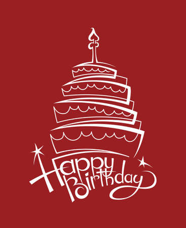 design of birthday cake on red background